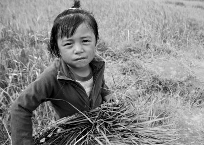 Bhutan girl in field
